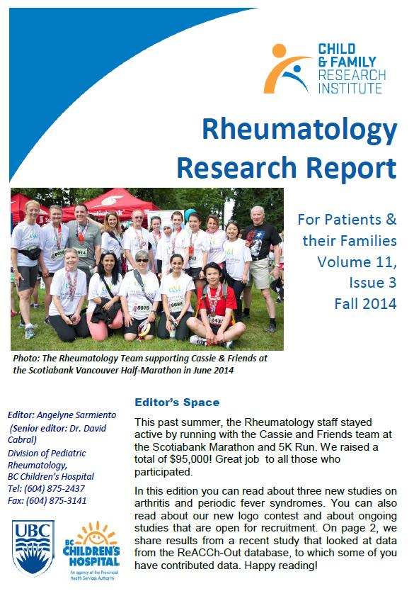 Rheumatology Research Newsletter Fall 2014